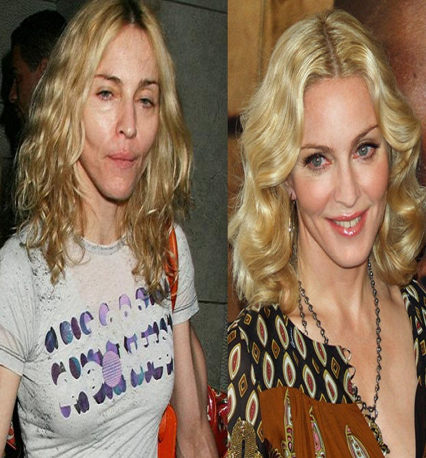 Without makeup Madonna-15 Celebrities With And Without Makeup