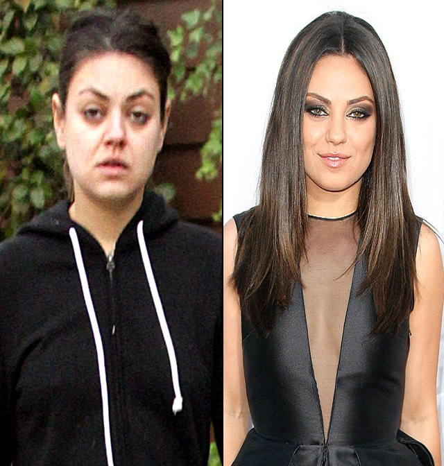 Milla Kunis's Actual Face-15 Celebrities With And Without Makeup