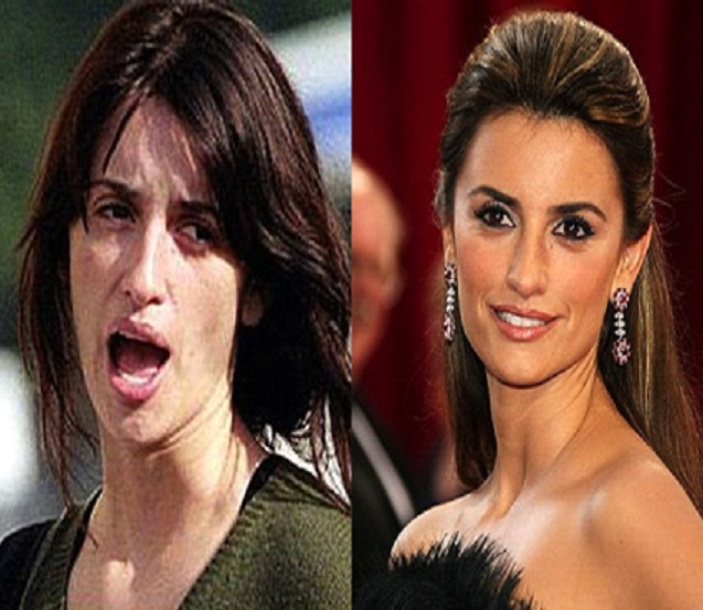 Penelope Cruz-15 Celebrities With And Without Makeup