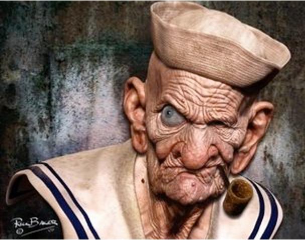 Popeye-Realistic Drawings Of Cartoon Characters