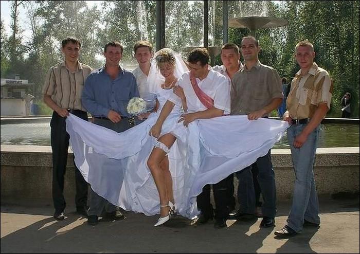 Show up your legs bride...-Hilarious Wedding Photos